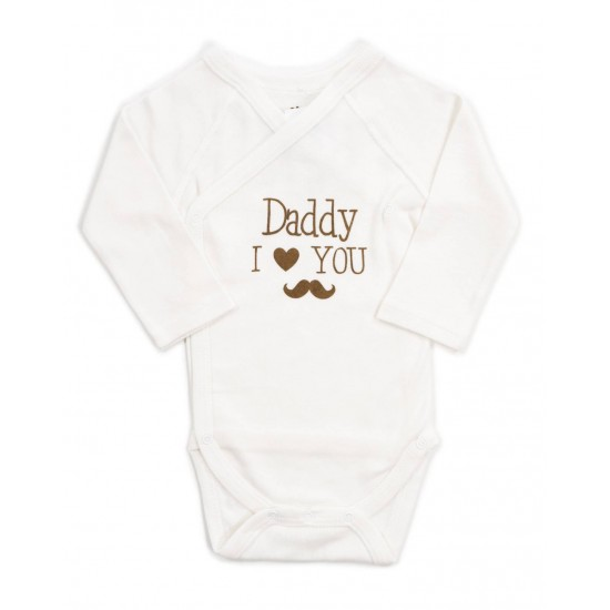 Body bebe bumbac maneca lunga ivory daddy I love you