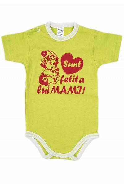 body bebe bumbac maneca scurta azuga vernil mesaj rosu sunt fetita lui mami