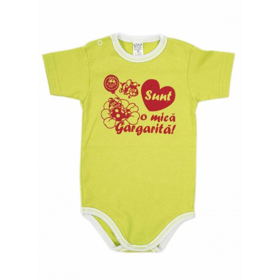 body bebe bumbac maneca scurta azuga vernil mesaj rosu sunt o mica gargarita