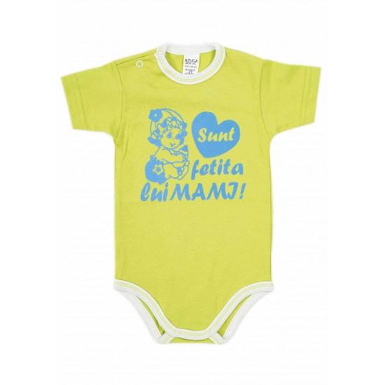 body bebe bumbac maneca scurta azuga vernil mesaj albastru sunt fetita lui mami