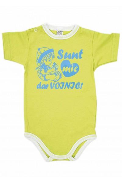 body bebe bumbac maneca scurta azuga vernil mesaj albastru sunt mic dar voinic