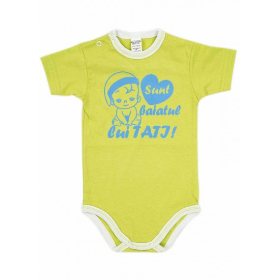 body bebe bumbac maneca scurta azuga vernil mesaj albastru sunt baiatul lui tati
