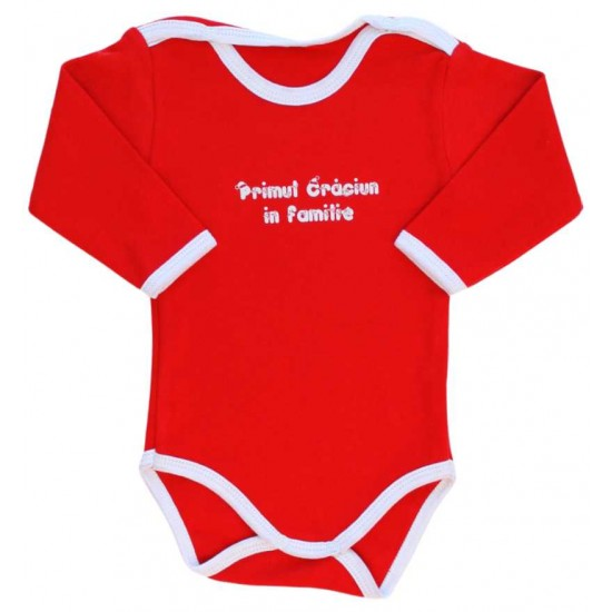 body bebe bumbac maneca lunga rosu primul Craciun in familie
