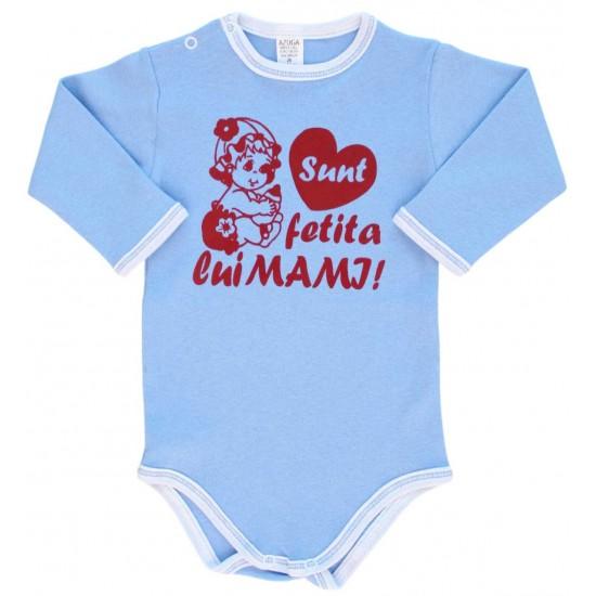 Body bebe bumbac bleu sunt fetita lui mami
