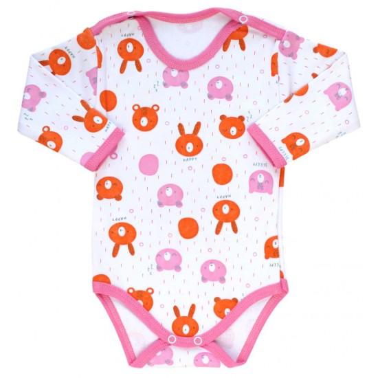 body bebe bumbac maneca lunga cap urs portocaliu-roz