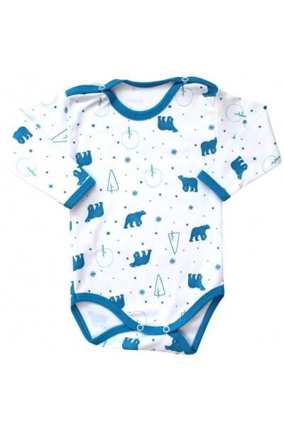 body bebe bumbac maneca lunga urs albastru