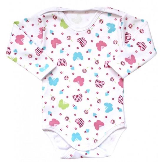 body bebe bumbac maneca lunga fluturi multicolori