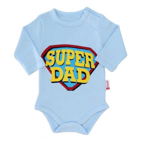 body bebe bumbac maneca lunga bleu super dad