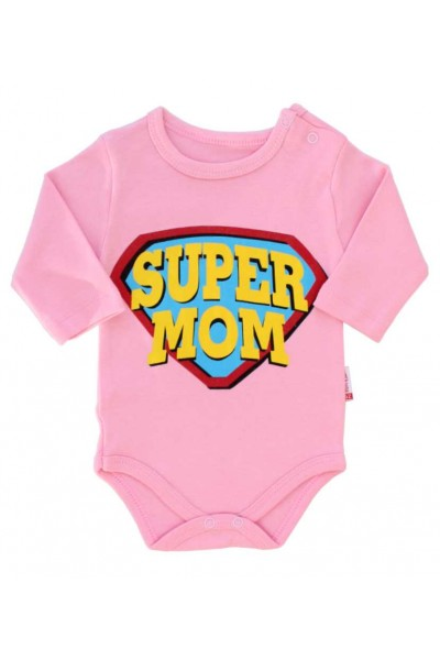 body bebe bumbac maneca lunga roz super mom