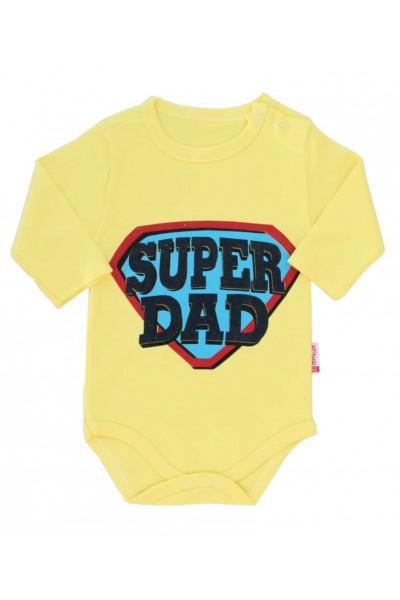 body bebe bumbac maneca lunga galben super dad