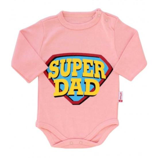 body bebe bumbac maneca lunga roz super dad