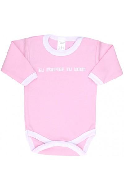 Body bebe bumbac roz eu noaptea nu dorm
