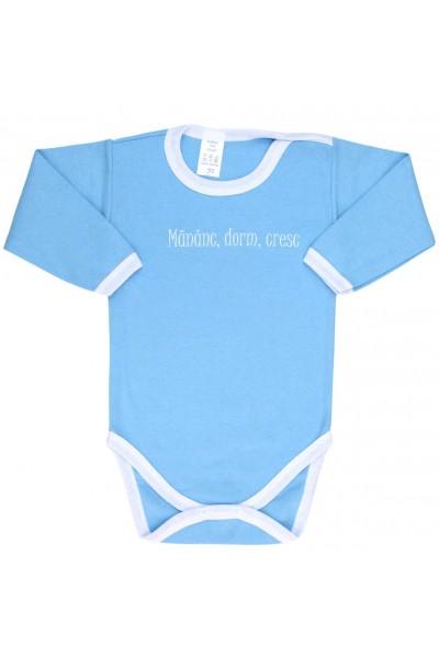 Body bebe bumbac bleu mananc, dorm, cresc