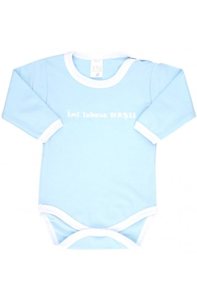 Body bebe bumbac bleu imi iubesc nasii