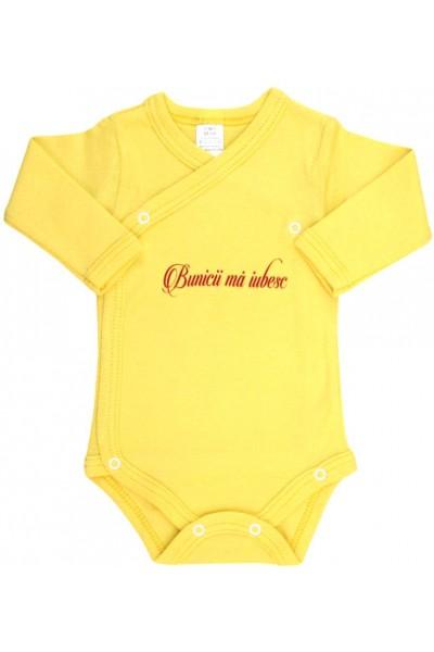 body bebe bumbac maneca lunga galben bunicii ma iubesc