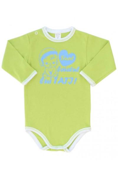 body bebe bumbac maneca lunga vernil mesaj bleu sunt baiatul lui tati