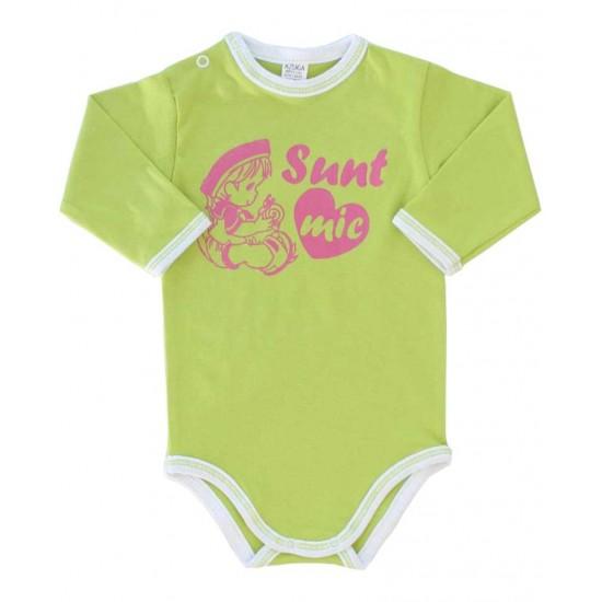 body bebe bumbac maneca lunga azuga vernil mesaj sunt mic