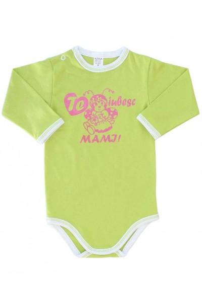 body bebe bumbac maneca lunga vernil mesaj roz te iubesc mami