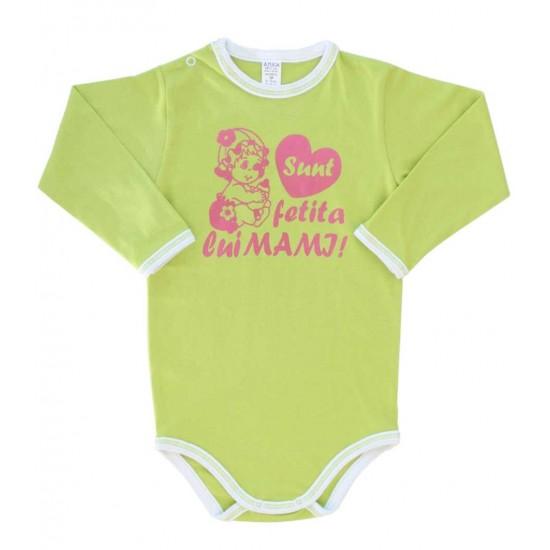 body bebe bumbac maneca lunga azuga vernil mesaj roz sunt fetita lui mami