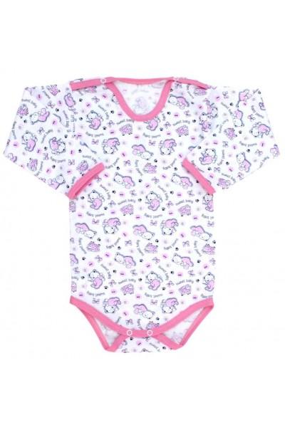 body bebe bumbac subtire maneca lunga oite roz