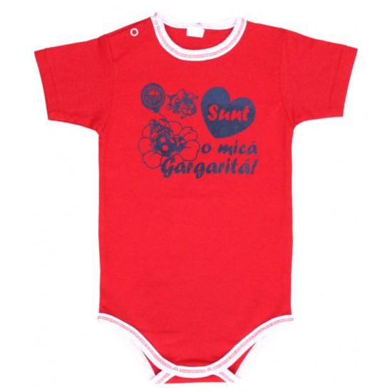 body bebe bumbac maneca scurta azuga rosu mesaj sunt o mica gargarita