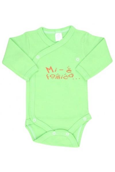 body bebe bumbac maneca lunga verde fistic mesaj mi-e fomica