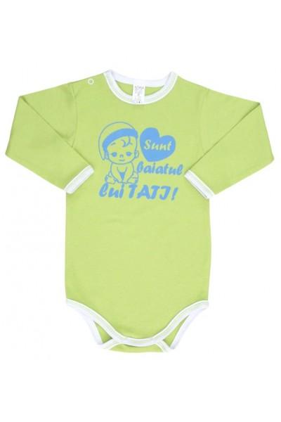 body bebe bumbac maneca lunga vernil mesaj albastru sunt baiatul lui tati