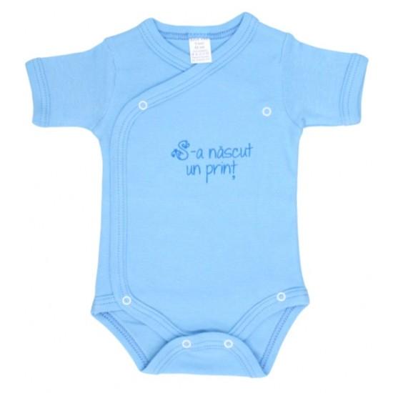 body bebe bumbac maneca scurta albastru mesaj sunt un print