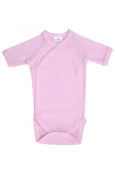 body bebe bumbac maneca scurta roz