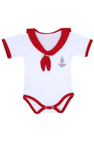 body bebe bumbac maneca scurta tip marinar rosu