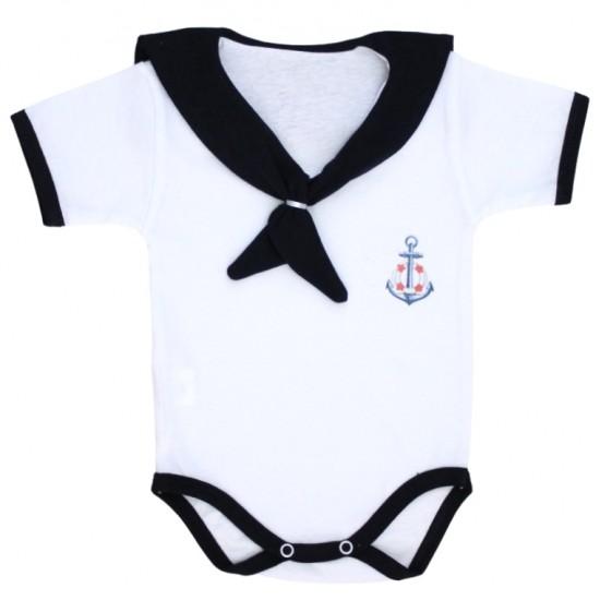 body bebe bumbac maneca scurta tip marinar bleumarin