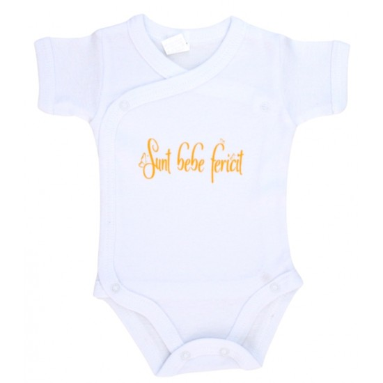 body bebe bumbac maneca scurta mesaj galben sunt bebe fericit