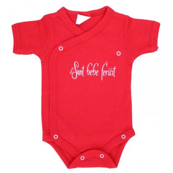 body bebe bumbac rosu maneca scurta mesaj sunt bebe fericit