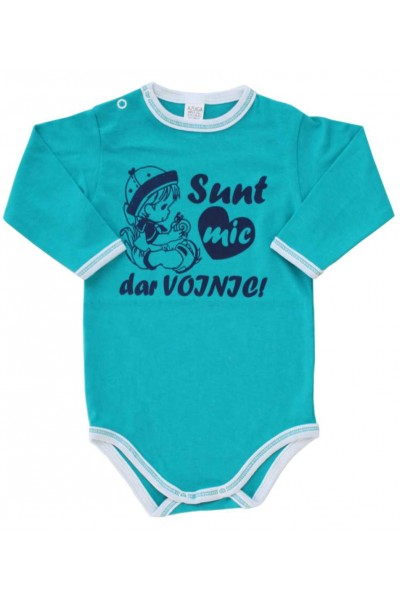 body bebe bumbac manesca lunga azuga verde-turcoaz mesaj albastru sunt mic dar voinic