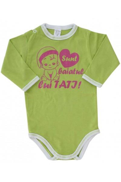 body bebe bumbac maneca lunga azuga vernil mesaj roz sunt baiatul lui tati
