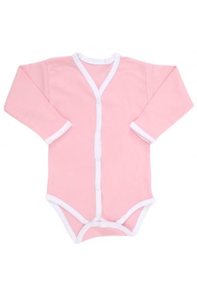 Body bebe bumbac roz margini albe