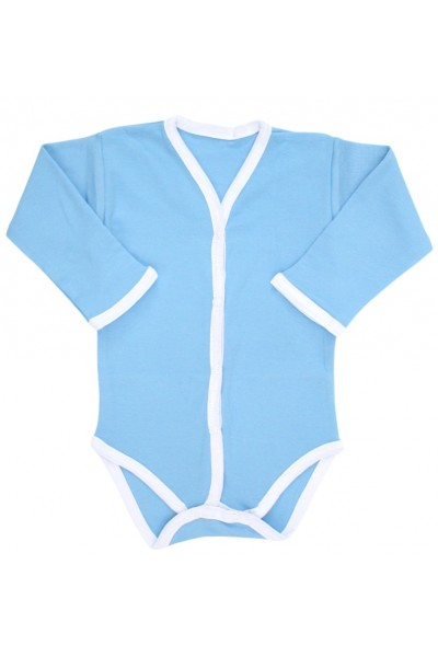 Body bebe bumbac bleu margini albe