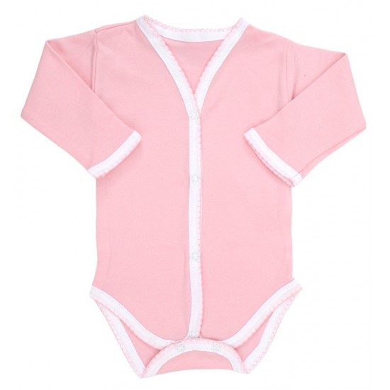 Body bebe bumbac roz margini dantelate