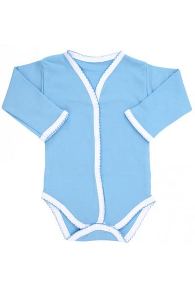 Body bebe bumbac bleu margini dantelate