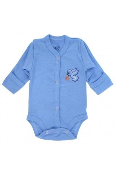 Body bebe bumbac cu broderie bleu