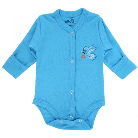 Body bebe bumbac cu broderie albastru