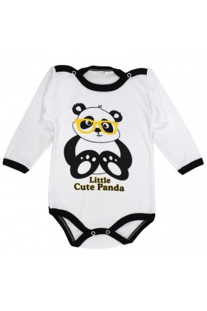 body bebe bumbac maneca lunga little cute panda