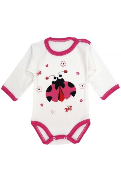 body bebe bumbac maneca lunga buburuza roz