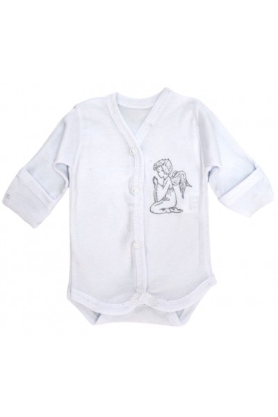 body bebe bumbac maneca lunga manusa alb ingeras