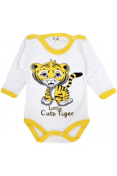body bebe bumbac maneca lunga tigru