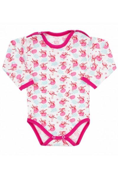 body bebe bumbac maneca lunga flori si margini roz