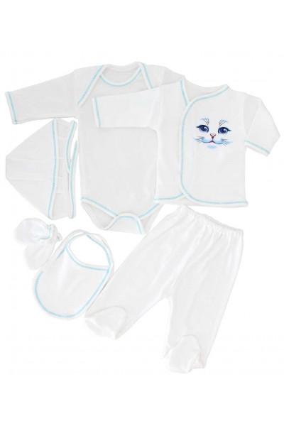Compleu bebe bumbac 6 piese pisicuta bleu