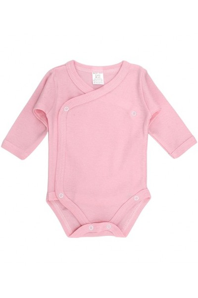 Body bebe bumbac petrecut maneca lunga roz