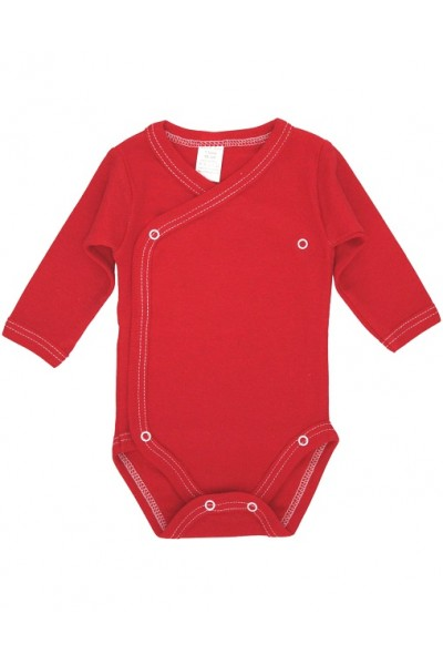 Body bebe bumbac petrecut maneca lunga rosu