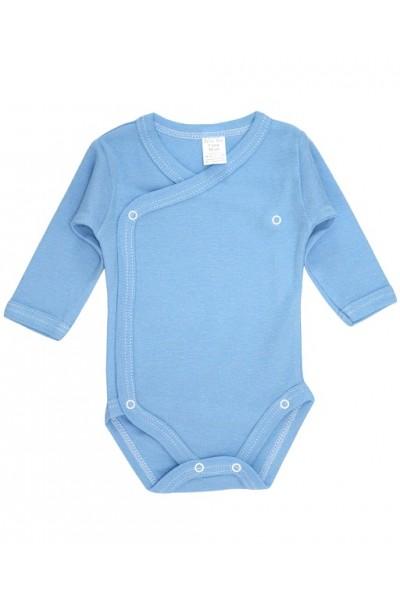 Body bebe bumbac petrecut maneca lunga bleu
